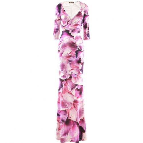 Roberto Cavalli Fuchsia White Flower Evening Dress
