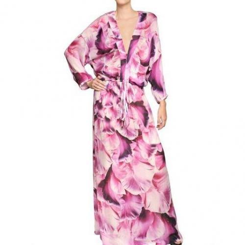 Roberto Cavalli Langes Bedrucktes Seiden Chiffon Kleid