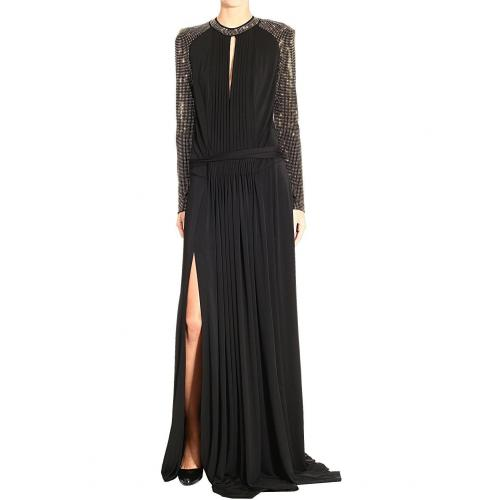 Roberto Cavalli Long sleeve studs long jersey dress
