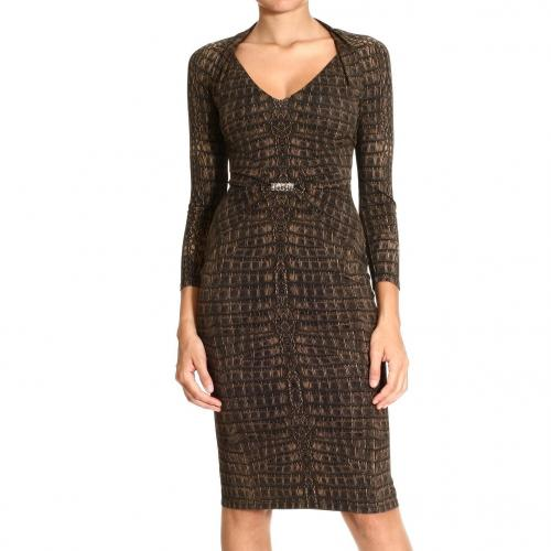 Roberto Cavalli Long sleeve v neck jersey crocodile print dress