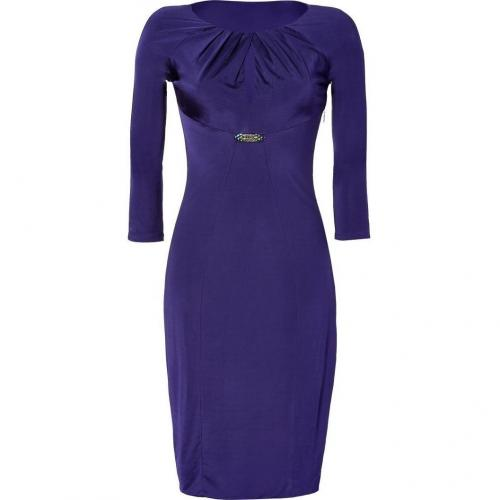 Roberto Cavalli Purple Draped Satin Jersey Dress