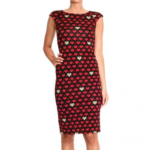 Roberto Cavalli Short sleeve jersey heart print sheath dress