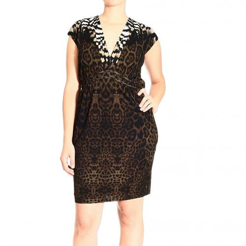 Roberto Cavalli Short sleeve jersey v neck jaguar print dress
