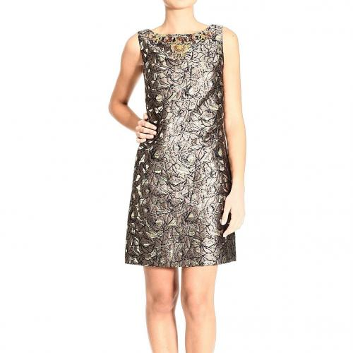 Roberto Cavalli Sleeveless brocade lurex stones cuts behind dress