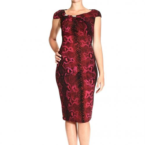 Roberto Cavalli Sleeveless curled jewel multi python print dress