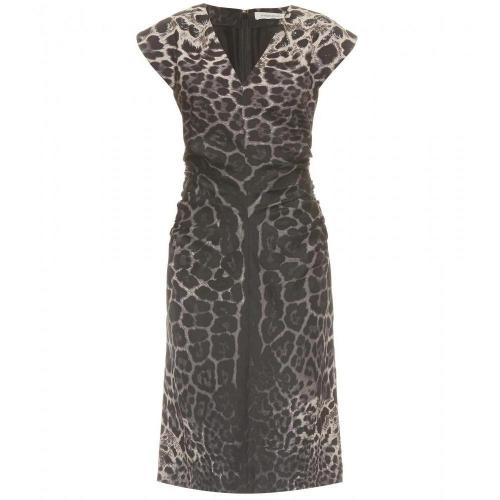 Saint Laurent Seidenkleid Mit Animalprint