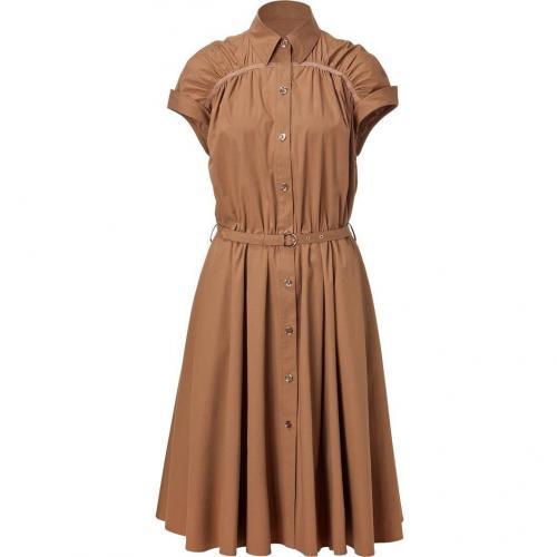 Salvatore Ferragamo Brown Sugar Belted Dress