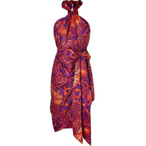 Salvatore Ferragamo Orange and Violet Animal Print Wrap Dress