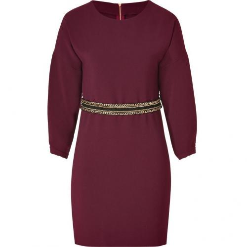 Sandro Red Wine Dress with Chain Sash