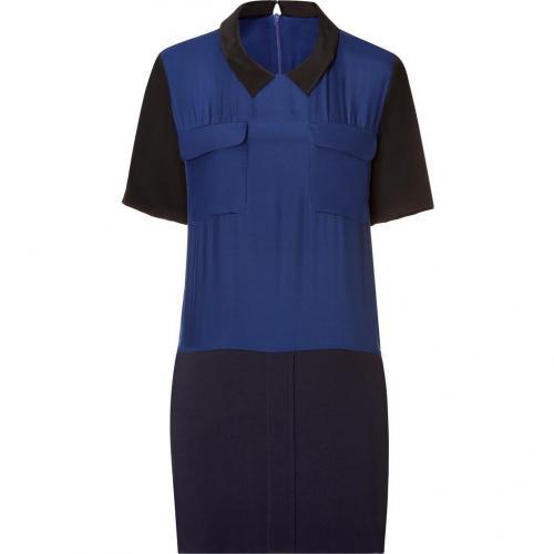 Sandro Royal/Navy Dual-Fabric Dress