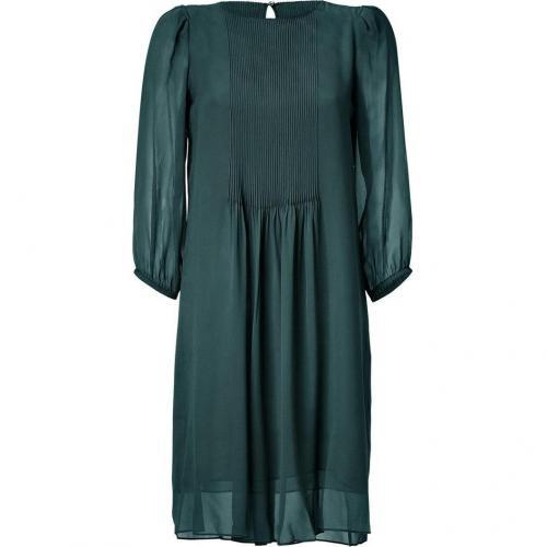 Schumacher Shadow Green 3/4 Sleeve Sheer Silk Dress