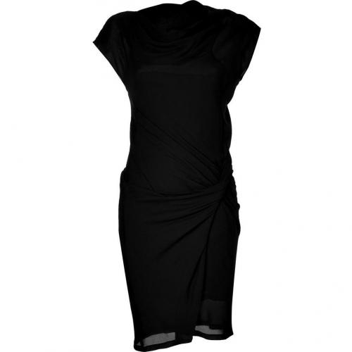 See by Chloé Black Silk-Blend Draped Kleid