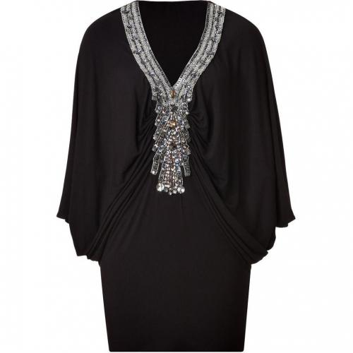 Sky Black Embellished Dolman Sleeve Mini Dress