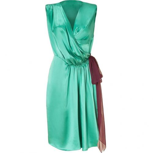 Sophie Theallet Turqoise/Ruby Silk Satin Wrap Dress
