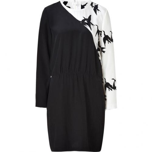 Tibi Ivory/Black Silk Dress
