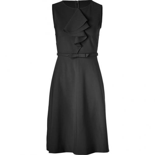 Valentino Black Belted Sheath Dress with Ruffle