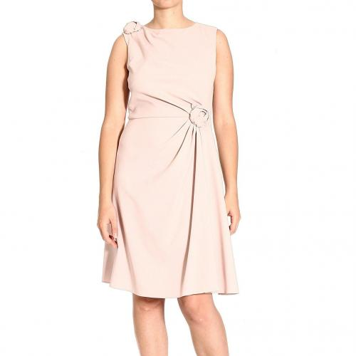Valentino Crepes wool sleeveless round neck 2 roses dress