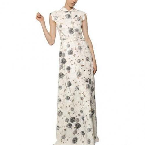 Valentino Langes Kleid Aus Baumwollpiqué Mit Blumen