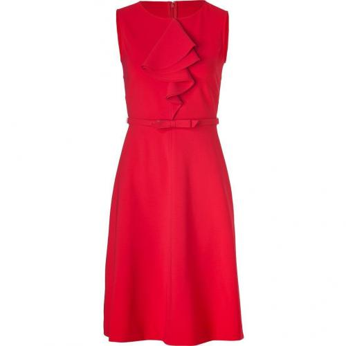 Valentino Red Belted Sheath Dress with Ruffle
