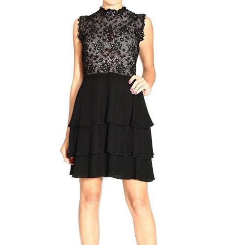 Valentino Sleeveless macrame crepes flounces skirt dress