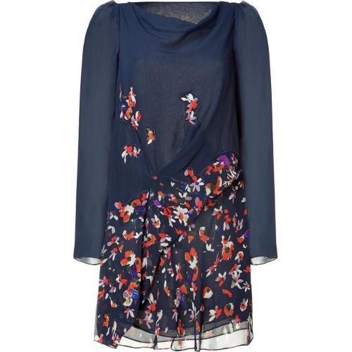 Vanessa Bruno Navy Floral Print Silk Dress