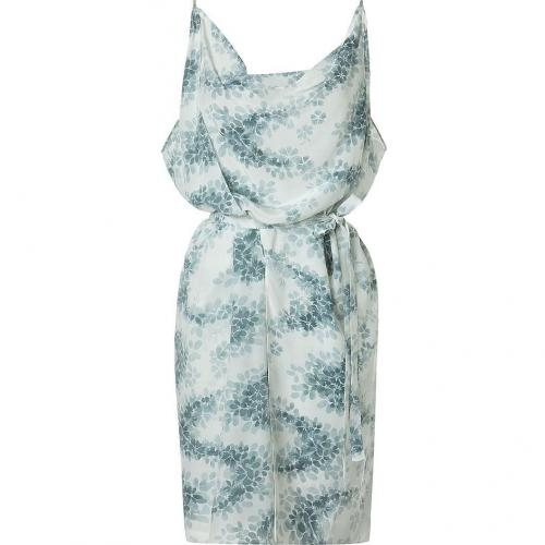 Vanessa Bruno White Green Printed Dress With Belt