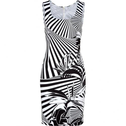 Versace Black and White Scoop Neck Sheath Dress