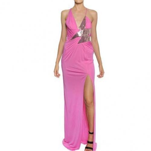 Versace Langes Perlenbesetztes Kleid Aus Viskosejersey