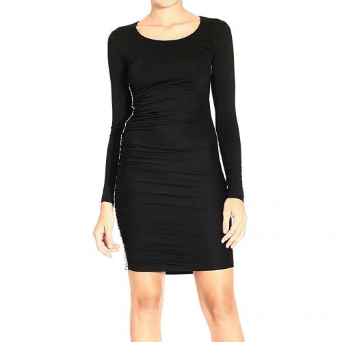 Versace Long sleeve jersey round neck studs dress