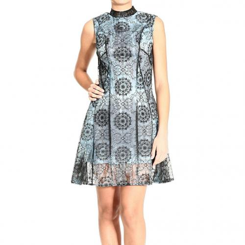 Versace Sleeveless jersey double lace print dress