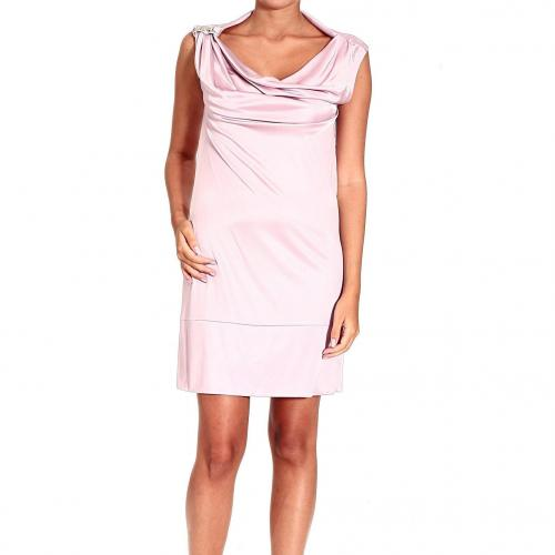 Versace Sleeveless jersey drape shoulder logo dress