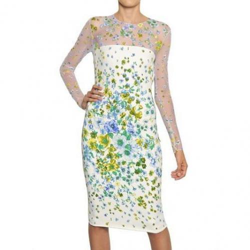 Versace Viskose-Cady-Kleid & Blumen Aus Ausbrennersamt