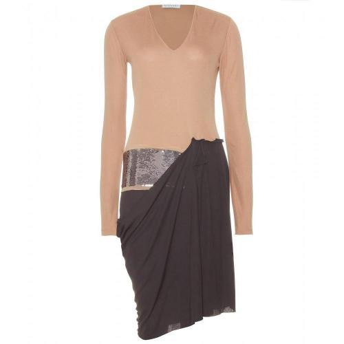 Vionnet Asymmetrisches Pailletten-Kleid Beige