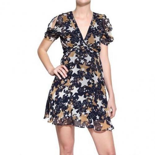 Yumi Bänder Bedrucktes Georgette Kleid