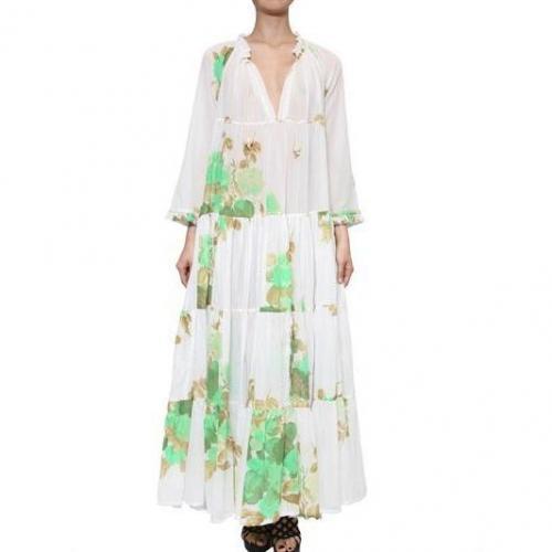 Yvonne S Langes Kleid Aus Biobaumwolle Mit Kordelzug White