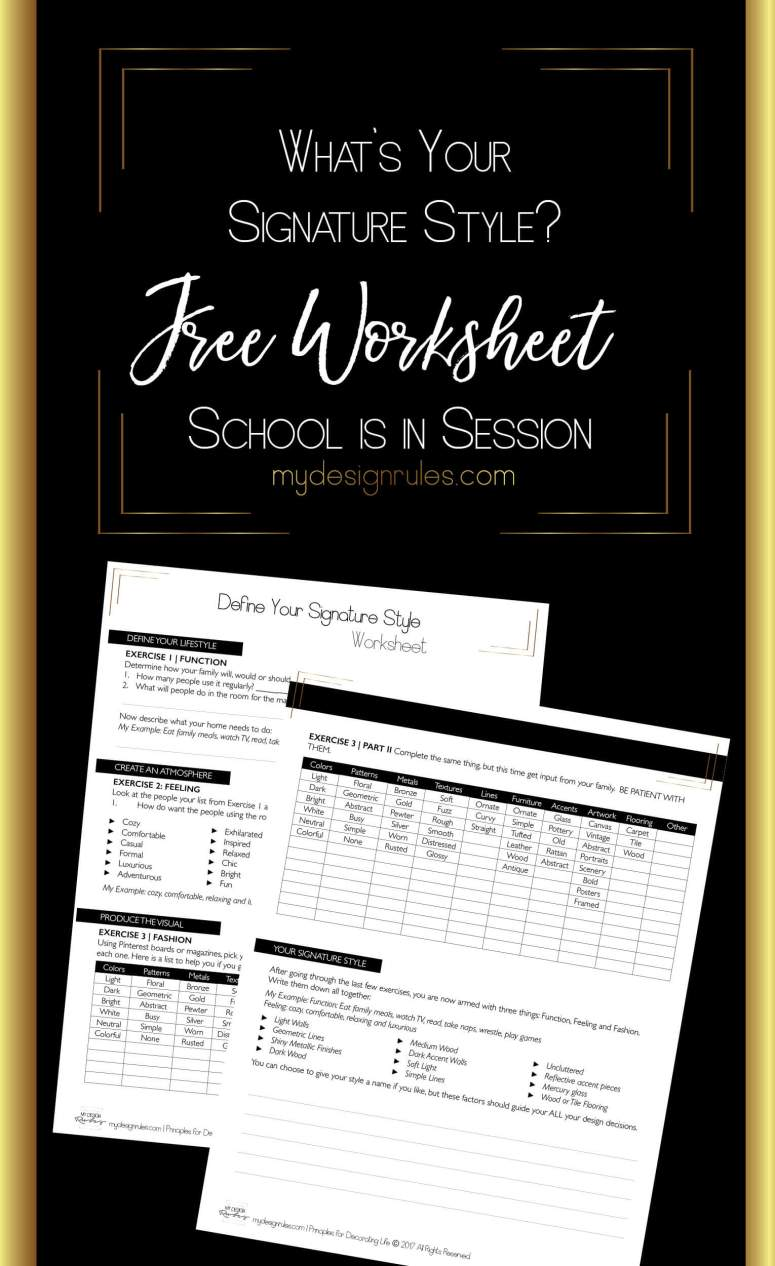 Free Find Style Worksheet. Learning how to decorate starts here.