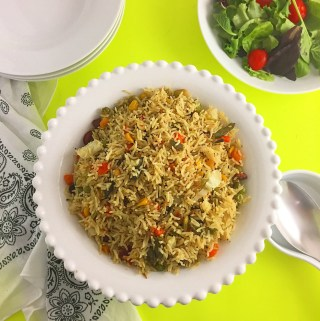 Coconut fried rice in a bowl