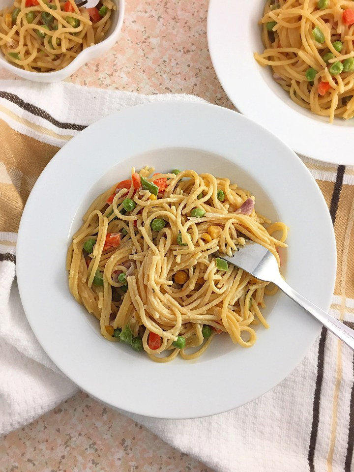 mommy's one pot creamy spaghetti recipe
