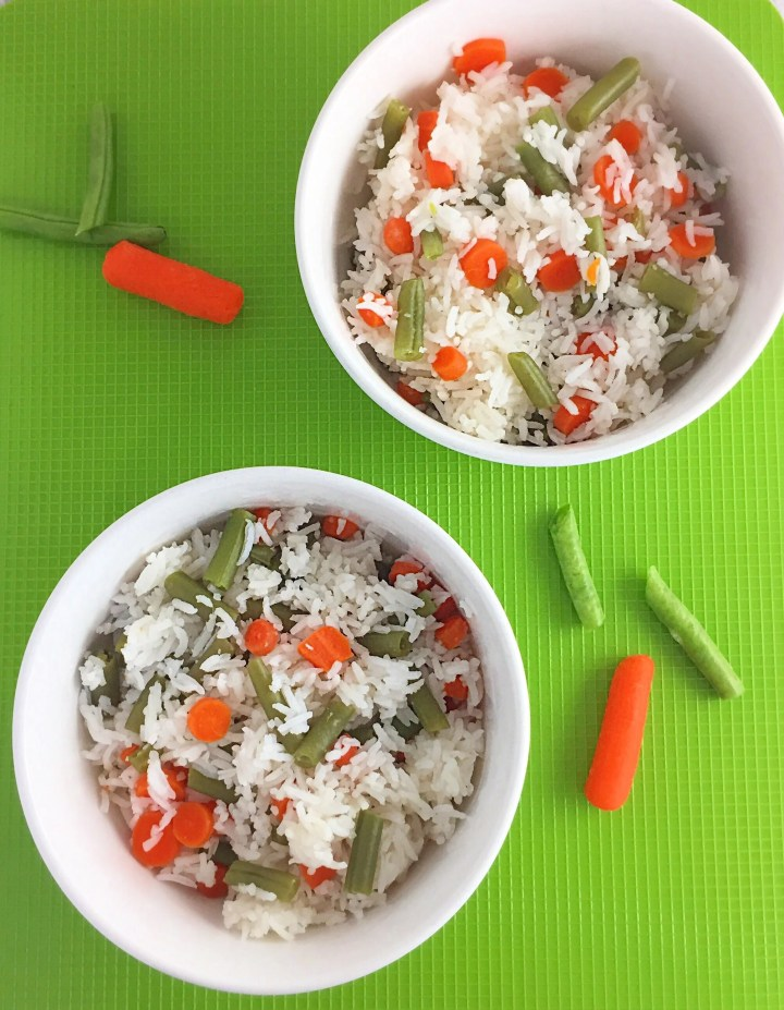 White rice with vegetables