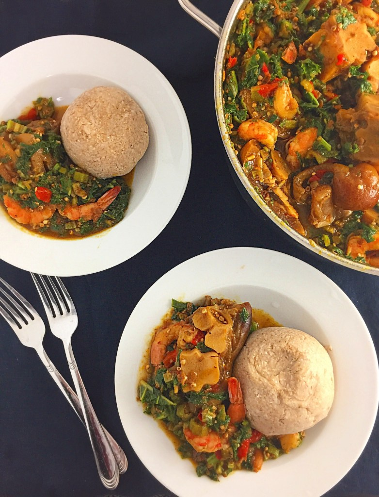 Nigerian okro vegetable soup