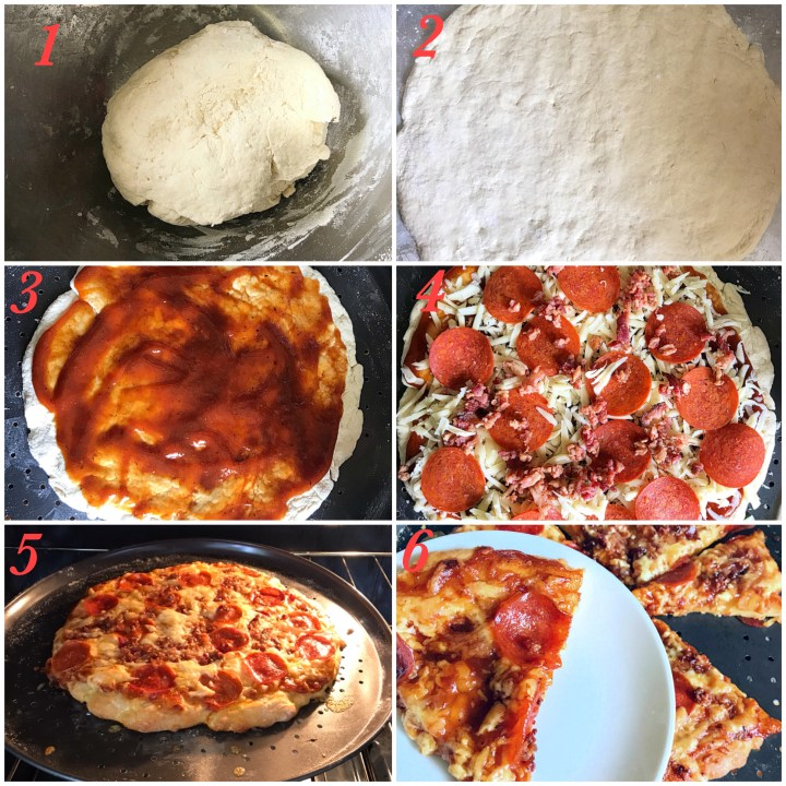 Process shots: 1. Pizza dough, 2. Pizza dough rolled out, 3. Rolled out pizza Spread with barbecue sauce, 4. Pizza with toppings, 5. Pizza in the oven, 6. Pizza slices