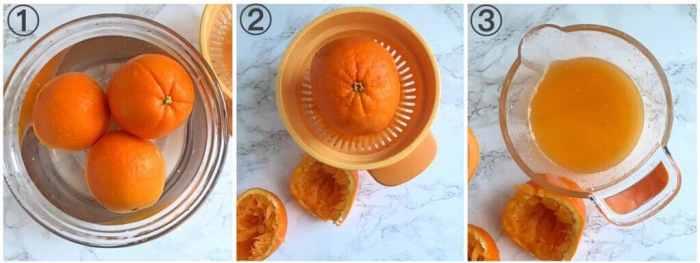 collage showing steps to making orange juice