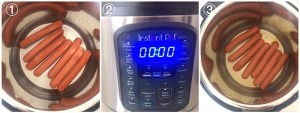 collage showing how to boil hot dogs in an instant pot