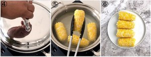 collage showing how to boil corn