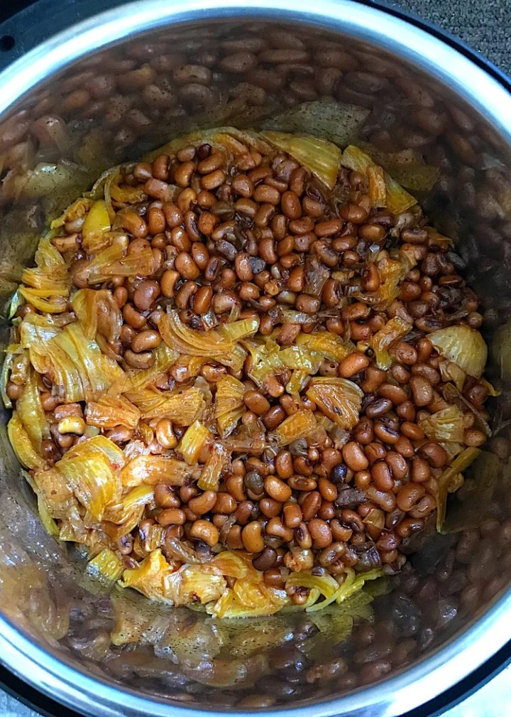 Instant Pot brown beans still in the inner pot