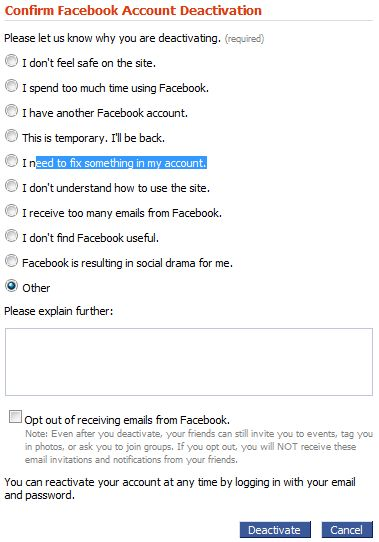 Confirm Facebook Deactivation