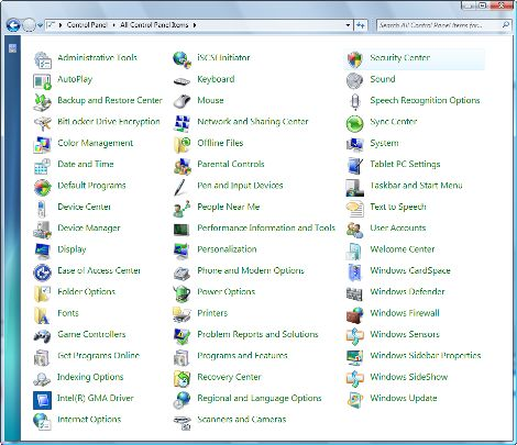 All Items in Windows 7 Control Panel
