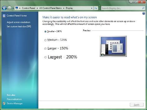 Display Settings in Windows 7