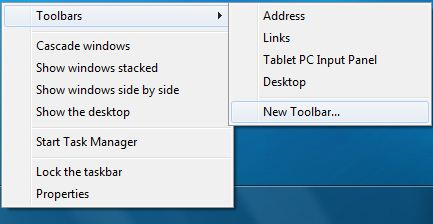 Create New Toolbar for Quick Launch Bar