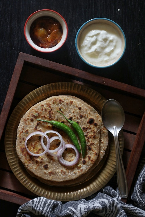 Aloo Parathas or Potato Stuffed Flatbreads